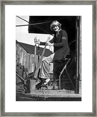 Woman Works Steam Shovel Framed Print by Underwood Archives