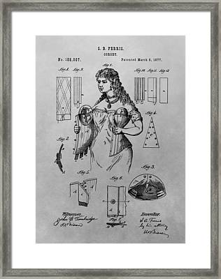 Woman's Corset Patent Drawing Framed Print by Dan Sproul