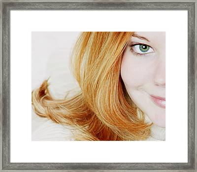 Womans Face Framed Print by Darren Greenwood