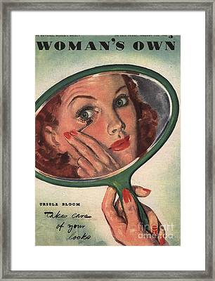 Woman�s Own 1944 1940s Uk Make-up Framed Print by The Advertising Archives
