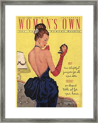 Womans Own 1947 1940s Uk Make-up Makeup Framed Print by The Advertising Archives