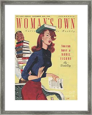 WomanÕs Own 1948 1940s Uk Models Framed Print by The Advertising Archives