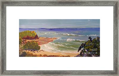 Framed Print featuring the painting Wombarra Beach by Pamela  Meredith