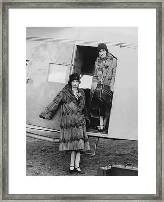 Women Airline Passengers Framed Print by Underwood Archives