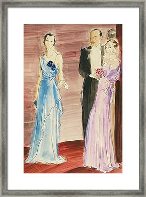 Women And A Man In Evening Wear Framed Print by Ren? Bou?t-Willaumez