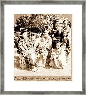 Women And Children Of A Japanese Family In Uyeno Park Framed Print