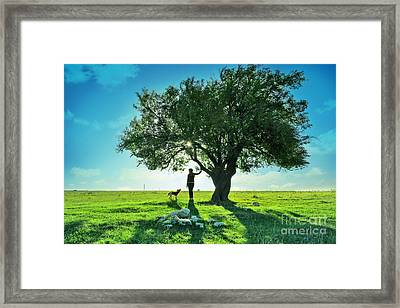 women and dog and Beautiful Greens Framed Print by Boon Mee