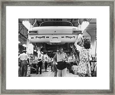 Women Assembly Line Workers Framed Print by Underwood Archives