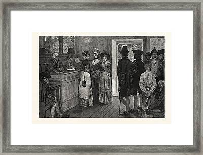 Women At The Polls In New Jersey In The Good Old Times, Us Framed Print by Pyle, Howard (1853-1911) (after), American