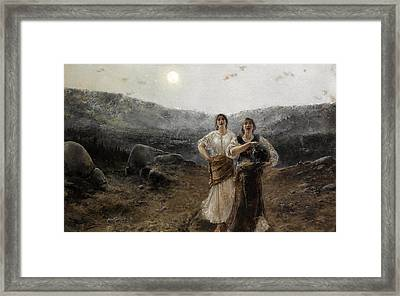 Women By Moonlight Framed Print by Agustin Salinas y Teruel