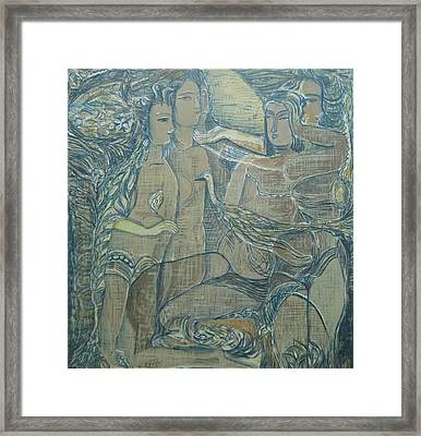 Women Chatting  Framed Print by Ousama Lazkani