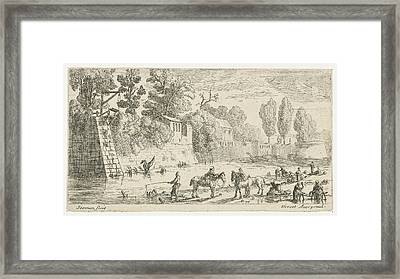 Women Do Laundry At A Canal, Anonymous, Pierre Drevet Framed Print by Anonymous And Pierre Drevet