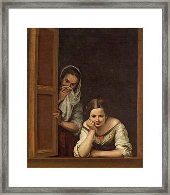 Women From Galicia At The Window Framed Print by Bartolome Esteban Murillo