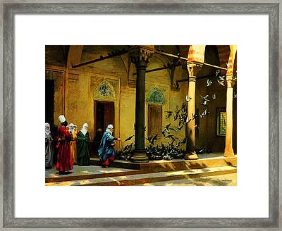 Women From Harem Feeding Pigeon Framed Print by Celestial Images