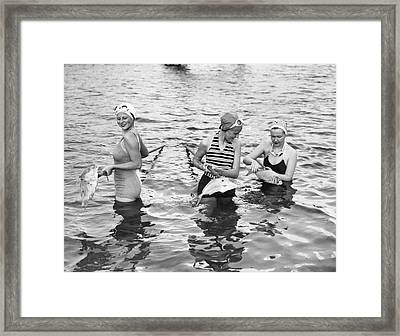 Women Gigging Fish In Miami Framed Print