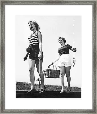 Women Going Fishing Framed Print