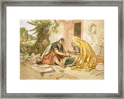 Women Grinding Corn, From India Ancient Framed Print by William 'Crimea' Simpson