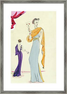 Women Holding Masks Framed Print by Christian Berard