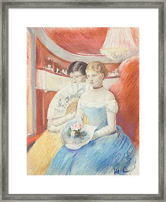 Women In A Loge Framed Print by Mary Stevenson Cassatt