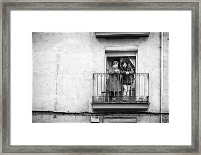 Women In Balcony Framed Print
