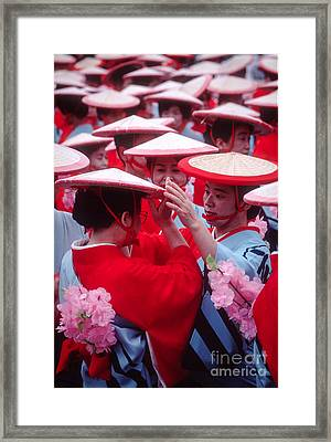 Women In Heian Period Kimonos Preparing For A Parade Framed Print