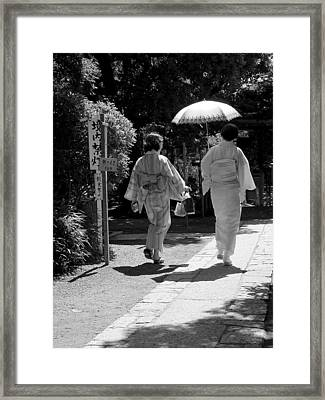 Framed Print featuring the photograph Women In Kimono by Larry Knipfing
