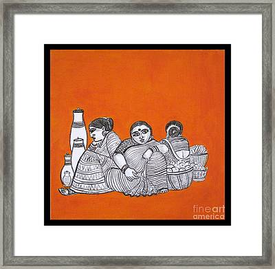 Women Vendors In Market Framed Print
