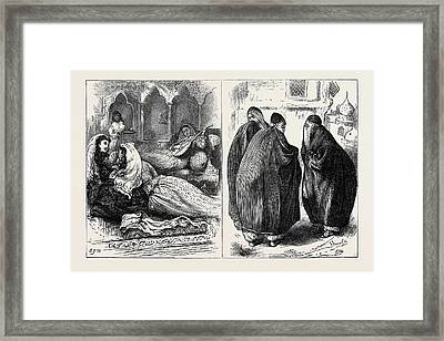Women In Persia In The Harem Left In The Street Right Framed Print by English School
