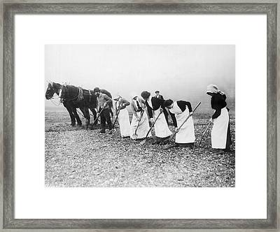 Women Learning Farming Framed Print by Underwood Archives