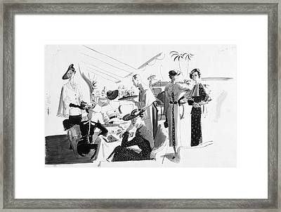 Women Lunching In A Tent Framed Print by Jean Pages