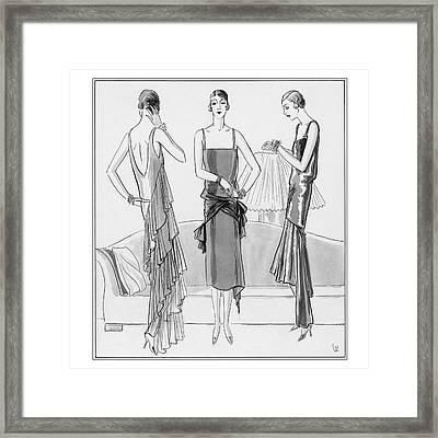 Women Model Evening Dresses Framed Print by Porter Woodruff