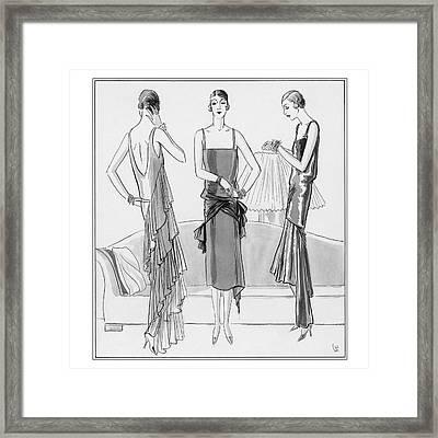 Women Model Evening Dresses Framed Print
