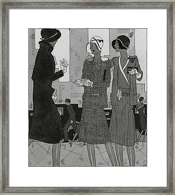 Women On A City Street Wearing Yvonne Carette Framed Print by Jean Pages