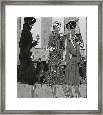 Women On A City Street Wearing Yvonne Carette Framed Print