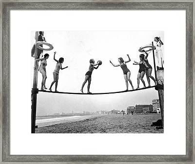 Women Play Beach Basketball Framed Print by Underwood Archives