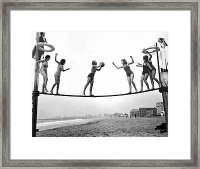 Women Play Beach Basketball Framed Print