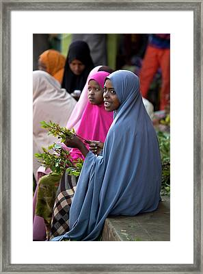 Women Selling Chat In The Harar Market Framed Print