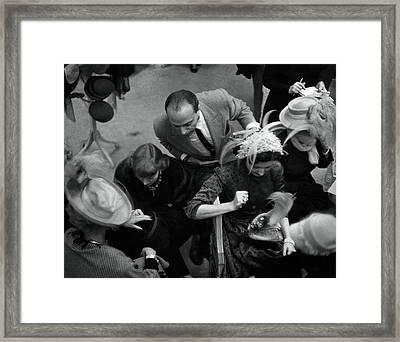 Women Shopping At Mr. John Framed Print by Constantin Joffe