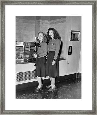 Women Stock Exchange Couriers Framed Print by Underwood Archives