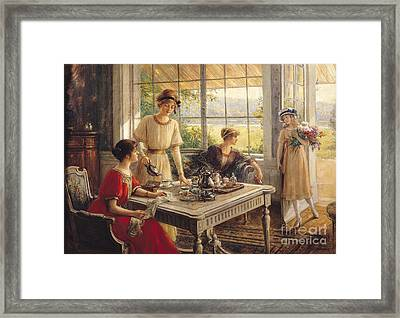 Women Taking Tea Framed Print by Albert Lynch