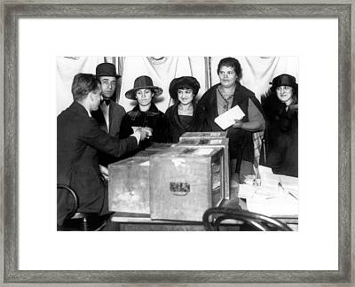 Women Voting For First Time Framed Print by Underwood Archives