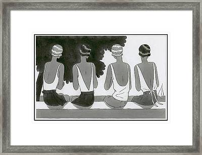 Women Wearing Bathing Suits Framed Print by Harriet Meserole