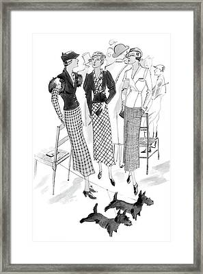 Women Wearing Checked Suits Framed Print