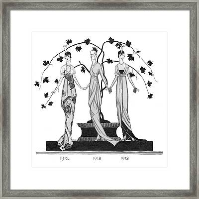 Women Wearing Costumes By Doucet Framed Print by Claire Avery