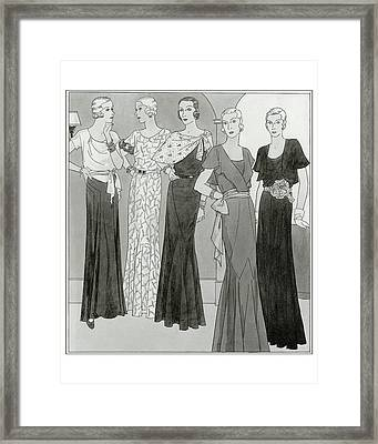 Women Wearing Designer Dresses Framed Print by Polly Tigue Francis