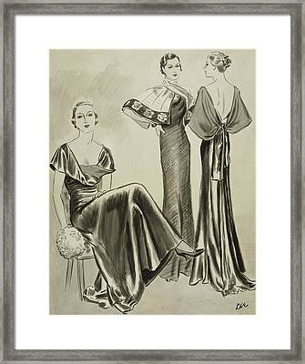Women Wearing Dresses By Mainbocher Framed Print by Creelman