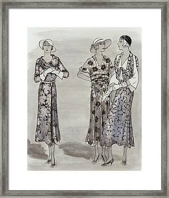Women Wearing Floral Dresses Framed Print by  Creelman