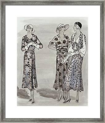 Women Wearing Floral Dresses Framed Print by Creelman