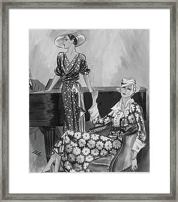 Women Wearing Printed Dresses Framed Print by Creelman