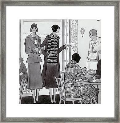 Women Wearing Semi-sport Ensembles By Chanel Framed Print by Artist Unknown